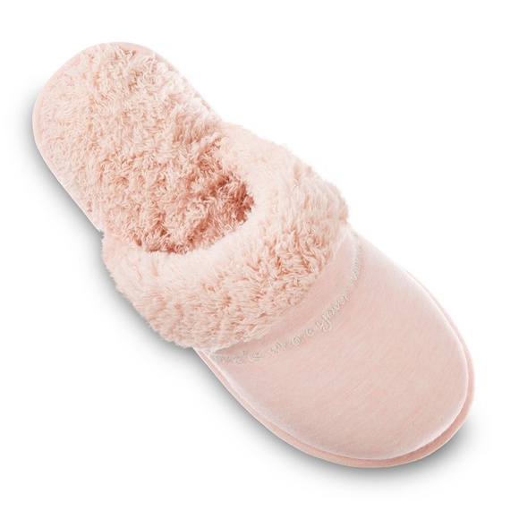 """isotoner Slippers Clog """"Mom"""" Pink Faux Fur"""